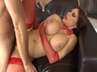 Big-titted milf enjoys fellatio & rough sex