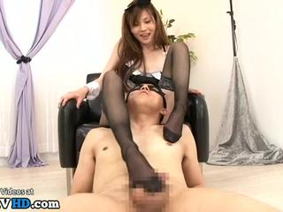 Japanese young maid in stockings gives best footjob - More at Elitejavhd.com