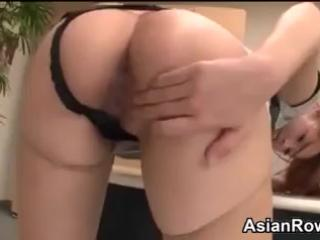 Busty Asian Babe In The Office